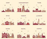 Set Indian cities vector illustration linear. Set of Indian cities skylines Surat Visakhapatnam Thane Patna Nagpur Lucknow Indore Bhopal Kanpur Trendy vector Stock Photo