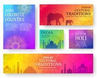 Set of Indian country ornament illustration concept. Art traditional, poster, book, poster, abstract, ottoman motifs Stock Image