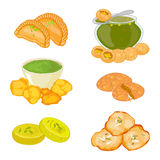 Set of 6 indian cuisine dishes royalty free illustration