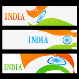 Set of indian flag headers Royalty Free Stock Photos