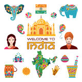Set of Indian flat icons. Vector illustration Royalty Free Stock Photography