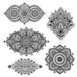 Set of Indian floral ornaments. Mandala. Henna Stock Photo