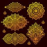 Set of Indian floral ornaments. Mandala. Henna Stock Image