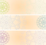 Set of Indian henna elephant mandala horizontal banners with space for text Royalty Free Stock Image
