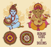 Set for indian holidays with Little Krishna and Lord Ganesha and ethnic ornaments Royalty Free Stock Image