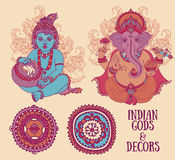 Set for indian holidays with Little Krishna and Lord Ganesha and ethnic ornaments Stock Image