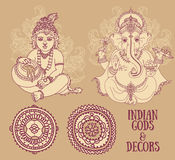 Set for indian holidays with Little Krishna and Lord Ganesha and ethnic ornaments Royalty Free Stock Photography