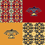 Set with indian patterns and backgrounds with eagles Stock Image