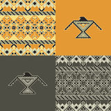 Set with indian patterns and backgrounds with eagles Royalty Free Stock Images