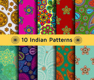 Set of Indian seamless patterns. Stock Photos