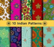 Set of Indian seamless patterns. Stock Photos