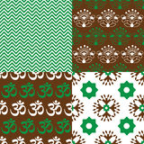 Set of Indian seamless patterns Royalty Free Stock Photos