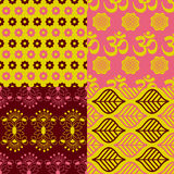Set of Indian seamless patterns Royalty Free Stock Image