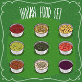 Set of Indian seasoning sauces like chutney Royalty Free Stock Image
