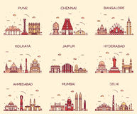 Set Indian skylines Mumbai Delhi Jaipur Kolkata. Set of Indian cities skylines Mumbai Delhi Jaipur Kolkata Hyderabad Ahmedabad Pune Chennai Bangalore Trendy Royalty Free Stock Image