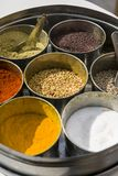 Set of Indian spices in metal bowls Royalty Free Stock Images