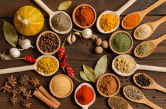 Set of Indian spices on wooden table - Top view. Big set of Indian spices on wooden table - Top view - Horizontal image Royalty Free Stock Images