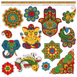 A set of Indian symbols for design Royalty Free Stock Photos