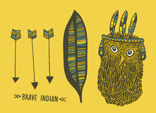 Set of indian things with cute hand drawn owl Royalty Free Stock Images