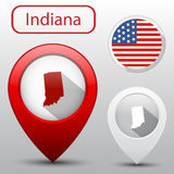 Set of Indiana state with flag america and map pointer Stock Images