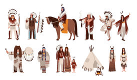 Set of Indians in traditional costumes. Native american family, girl, shaman, people with a bow and arrows, peace-pipe Royalty Free Stock Photography