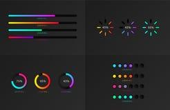 Set of indicators. Progress loading bar. Download progress, web design template, interface upload. Vector illustration vector illustration