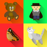 A set of individual pictures,  toys, a magician, a cat, bear, snail. Royalty Free Stock Photography