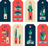 Set of indoor plants tag. Vector illustration set of tags, price tags for sales, purchases and stores, template for typography Stock Images