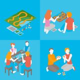 Set of indoors activity and hobby. People playing a board game with cards, field. Isometric friends, couple and family spend time together. Group of girls and royalty free illustration