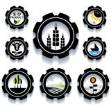 Set of industrial and agricultural icons Stock Photos