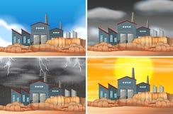 Set of industrial building scenes. Illustration vector illustration