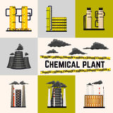 Set of industrial buildings producing energy for humans. Nuclear and power plants. Chemical manufacturing. Vector Stock Images