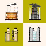 Set of industrial buildings producing energy for humans. Nuclear and power plants 2. Vector Stock Images