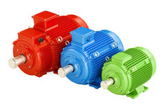 Set of industrial electric motors, 3D rendering Royalty Free Stock Photo
