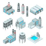 Set of industrial or factory buildings. Isometric 3d pictures. Industry factory building, architecture industrial, vector illustration stock illustration