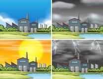Set of industrial factory scenes. Illustration stock illustration