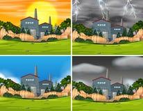 Set of industrial factory scenes. Illustration royalty free illustration