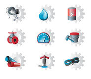 Set of industrial icons. Icons of different directions amid industry gears royalty free illustration