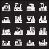 Set of industrial manufactory buildings icons set  Royalty Free Stock Photos