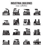 Set of industrial manufactory buildings icons set Royalty Free Stock Photo
