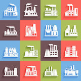 Set of industrial manufactory buildings icons set Stock Photos