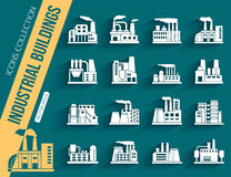 Set of industrial manufactory buildings icons set Stock Images