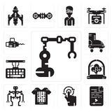 Set of Industrial robot, Audio file, Tap, Smart clothing, Robot, Tree, Keyboard, Boots, Chainsaw icons. Set Of 13 simple  icons such as Industrial robot, Audio Stock Image