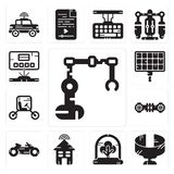 Set of Industrial robot, Panoramic view, Tree, Smart house, Motorbike, Hoverboard, Vehicle, Solar panel, Hologram icons. Set Of 13 simple editable icons such as Royalty Free Stock Photo