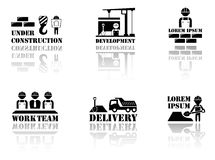 Set industrial symbols with reflection silhouette Stock Image