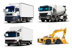 Set of industrial trucks and vehicles. Creative abstract shipping industry, logistics transportation, building and construction, roadworks and cargo freight Royalty Free Stock Photos