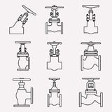 Set of industrial valve icons. Stop and angle valve. Thin line vector Royalty Free Stock Photos