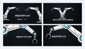 Set of Industry 4.0 banners with robotic arm. Smart industrial revolution, automation, robot assistants. Vector illustration. Set of Industry 4.0 banners with royalty free illustration