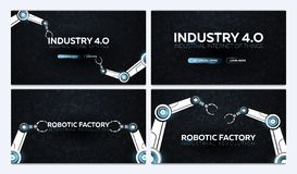 Set of Industry 4.0 banners with robotic arm. Smart industrial revolution, automation, robot assistants. Vector illustration. Set of Industry 4.0 banners with vector illustration