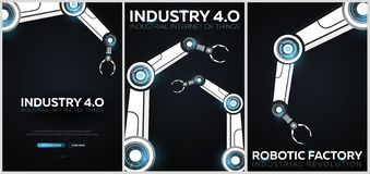 Set of Industry 4.0 banners with robotic arm. Smart industrial revolution, automation, robot assistants. Vector illustration. Set of Industry 4.0 banners with stock illustration